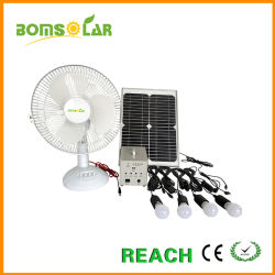 Casa Solar de 30W de potencia solar Banco UPS Kits de iluminación doméstica con Ventilador d.c.