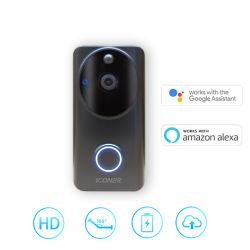 720p/1080P WiFiのワイヤー自由な無線充電電池の広角の166度のドアベルのリングのビデオを曇らせる