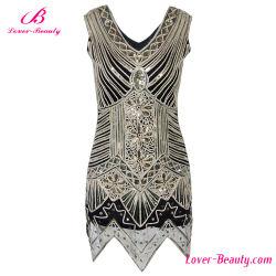 Shimmer большое Gatsby женщин вечерние платья в стиле Арт Деко Sequin нерегулярных внизу