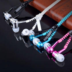 2018 Métal promotionnel écouteurs écouteurs pour les mobiles de fermeture à glissière
