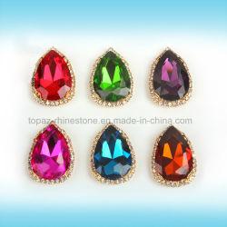 中国の卸し売り水晶クリスマスの装飾の金爪のゆとりガラスの近い縫う水晶ラインストーン(SW低下10*14)
