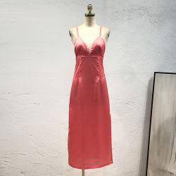 As mulheres Satin V-Pescoço vestido MIDI
