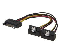 Câble d'alimentation SATA SATA mâle 15 broches à 2 SATA vers le bas de l'angle 15 broches femelle câble répartiteur de puissance