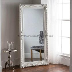 Grote witte vloer muur barokke houten Spiegelframe