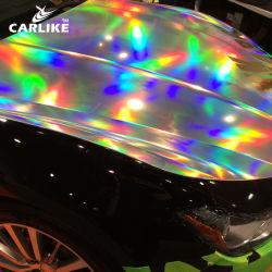 Carlike 1,52 x18m couleur argent brillant laser teinté Chrome Rainbow feuille de film pour la voiture en vinyle d'enrubannage