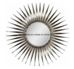 Châssis métallique moderne Miroir Rayons d'éclatement Silver Leaf Décoration d'accueil