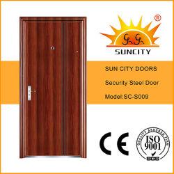 Enjuagar los diseños de una sola puerta de hierro de acero de seguridad para el Exterior (SC-S009)