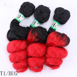Comercio al por mayor extensión de cabello sintético onda suelto 3pcs/Lot mezcla de negro pelo Borgoña paquetes para las mujeres resistentes al calor