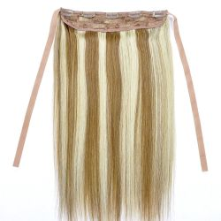 Cheveux humains de Remy de couleur blonde mélangée frontale de lacet de 5 agrafes directement avec l'agrafe de courroie d'attache dans les cheveux