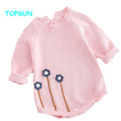 Bebé ropa de algodón tejido Rompers invierno bebé Jumpsuit de manga larga de Punto jersey