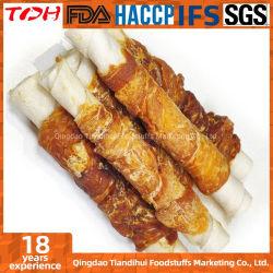 Tdh Europa Nahrung für Haustiere köstliche natürliche des Qualitäts-Hundeimbiss-Huhn-Standardverpackungs-grobe Rindleder-Rollen(Zwischenlage)