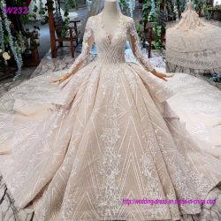 長い袖Vの襟足のレースのアプリケーションの花嫁の結婚式の夜会服