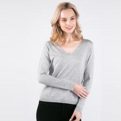 Nouvelle arrivée Women's Knitwear & Cachemire de soie mélangée pullover à col en V profond