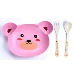 Articoli per la tavola animali del cucchiaio della forcella della tazza del piatto dei bambini dell'insalata della fibra di bambù del venditore più importante 2019 del Amazon degli accessori della cucina 5 insiemi