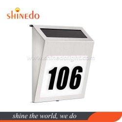 Angeschaltenes LEDhelles Doorplate-Haus-Adressen-Zahl-Edelstahldoorplate-Solarlicht