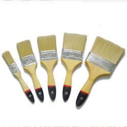 Soie blanche poignée en bois avec la couleur astuce Pinceau Plat Puce (GMPB023)