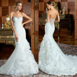 Mermaid Robes Arrepiados Organza Formal Wedding Suite vestidos Z2085