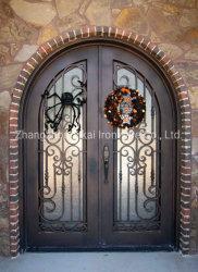Parte superior da cava-de ferro forjado estilo Americano Porta dupla porta a porta de segurança