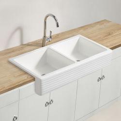 مطبخ مادّة خزفيّة مزدوجة قصر يد يغسل خزف بالوعة