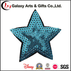 Bordados coloridos padrão estrela Sequin decorativas Applique para vestuário