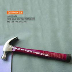 H-02 строительного оборудования ручных инструментов американского типа Laser-Printed деревянной ручкой молотка выступа