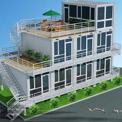 현대적인 디자인의 강철로 큰 유리벽 배송 반장집 틀을 짜서 있습니다 컨테이너 하우스
