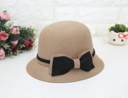 El color de la cuenca de doble arco señoras sombrero de fieltro de lana pura Virgen pescador Hat Hat