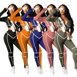 Mulheres Esportes Fitness Desgaste de ioga 2 Conjunto de PCS de mangas compridas e Superior de Cultura Pants Striped Manta Moda as mulheres de duas peças de vestuário