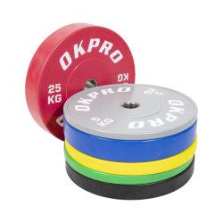 オリンピック用クロスフィット計量リフティングバンパーコーティングカラーラバーウェイトプレートオリンピック ジムカラーラバーバンパープレート