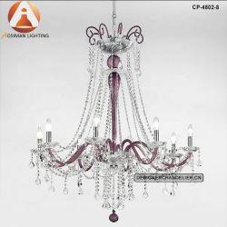 Crystal y clásica lámpara de araña de acabado de cristal de amatista