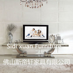 Hoher Glanz-moderner Edelstahl-Rahmen Fernsehapparat-Standplatz-ausgeglichenes Glas auf Spitzen-Fernsehapparat-Tisch