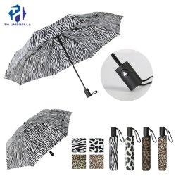 3 veces la apertura automática paraguas con impresión de cheques/Paraguas estilo simple para dama y caballero/Compact Promoción paraguas
