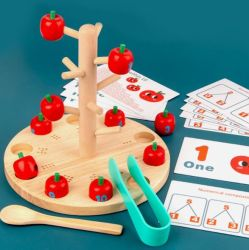 Venda por grosso de brinquedos de madeira divertido jogo de colheita de maçã, creche para crianças matemática cognitivo auxiliares pedagógicos
