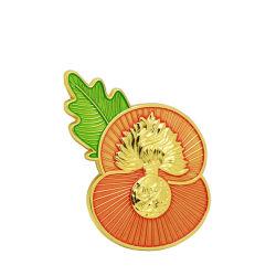 عالة يسم [بلزر] ثني سترة صغيرة [بين] زهرة أحمر مع أوراق [روس] ثني سترة [بين] معدنة ليّنة مينا [بين]