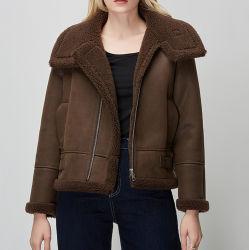 OEM Chic Vogue Invierno Shearling piel abrigo Casual bicicleta caliente Chaqueta bomber con forro de lana de cuello grande corto