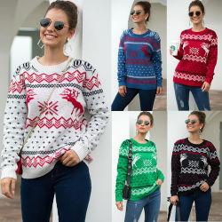 Weihnachten Sweet Pattern Kaschmir Blended Turtle Neck Strickmode Ugly Pullover Pullover für Damen