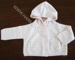 Casaco de lã da caxemira dos bebês com Hoodie