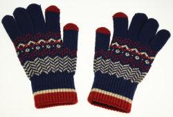 Contraste des couleurs de la marine acrylique Gants Les gants tricot jacquard Mesdames