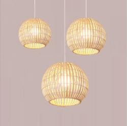 2020 Venda quente lustres pendentes de LED de bambu de vime e lâmpadas para iluminação da sala de estar