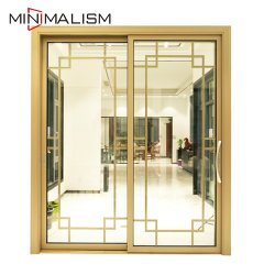 Алюминиевые раздвижные двери/2 панели вставьте/три дорожки/алюминиевый профиль сдвиньте/закаленного стекла/черная ручка/поворота/патио/складывание