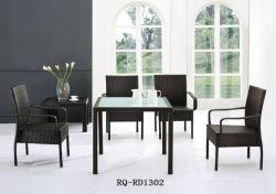 Tabella pranzante esterna del rattan del PE della struttura allume/della mobilia e sedia (RQ-RD1302)