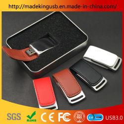 Embosed Logo Business Ledertasche aus Metall mit Schnalle, USB-Flash-Laufwerk aus Leder
