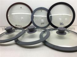 Tampa da bandeja de vidro Non-Stick Pot cobrir com aro de Silicone