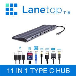 가스레인지 USB C 허브 도크가 모두 하나의 C형 안에 있습니다 MacBook PRO 11 Air용 멀티 USB 3.0 어댑터로 USB-C 3.1 스플리터 포트 Type-C 허브