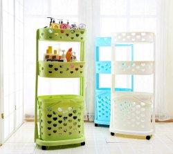 Contenedor de plástico laminado Servicio de lavandería obstaculizar la canasta de almacenamiento Bin Cart