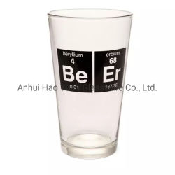 Hao Yuan Fabrikanten Glass Cup Custom Logo Glassware 16 Oz Glas van de bierpint