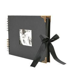 """Album fotografico nero da 0.75"""" L X 8.27"""" L X 12.4"""" realizzato a mano Album fotografico di 80 pagine con apertura fotografica per San Valentino Regali"""
