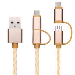 1m/3FT snelle Lader 2 in 1 Gevlechte Bliksem 8pin van het Type C Kabel USB voor Slimme PC van de Tablet van de Telefoon