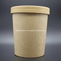 32oz de papier Kraft bol de soupe avec du papier de couvercles