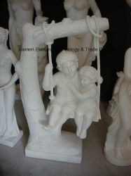 형제와 Sister Marble Carved Westernstone Sculpture Children Carving 중국 Hand Carved Sculpturefor 정원